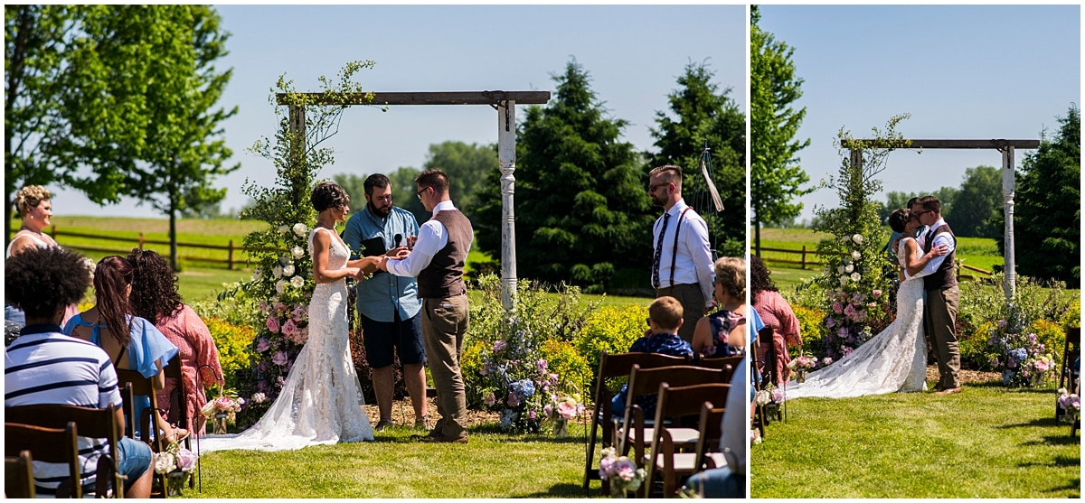 Northfield backyard wedding vows and first kiss