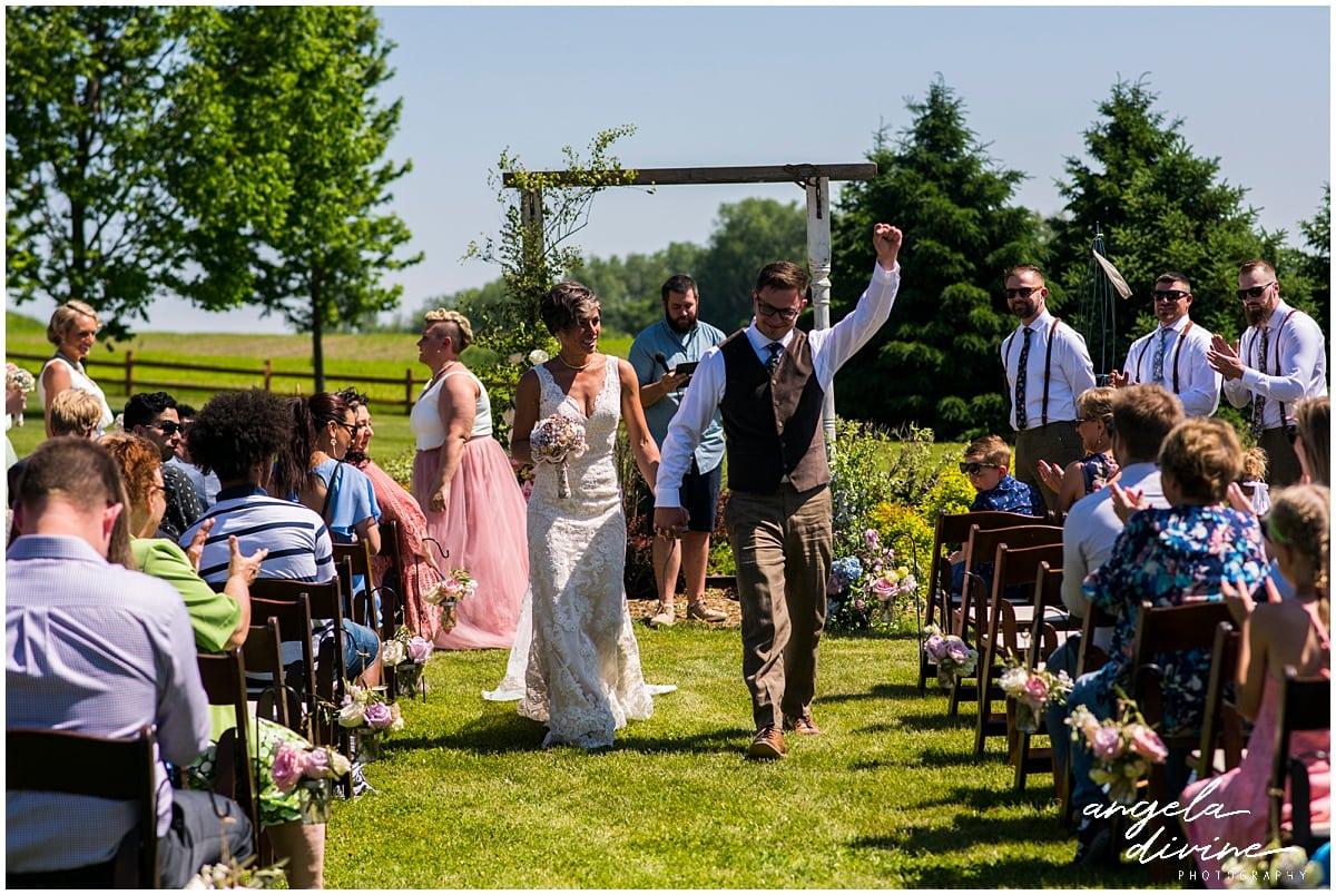 Northfield backyard wedding just married