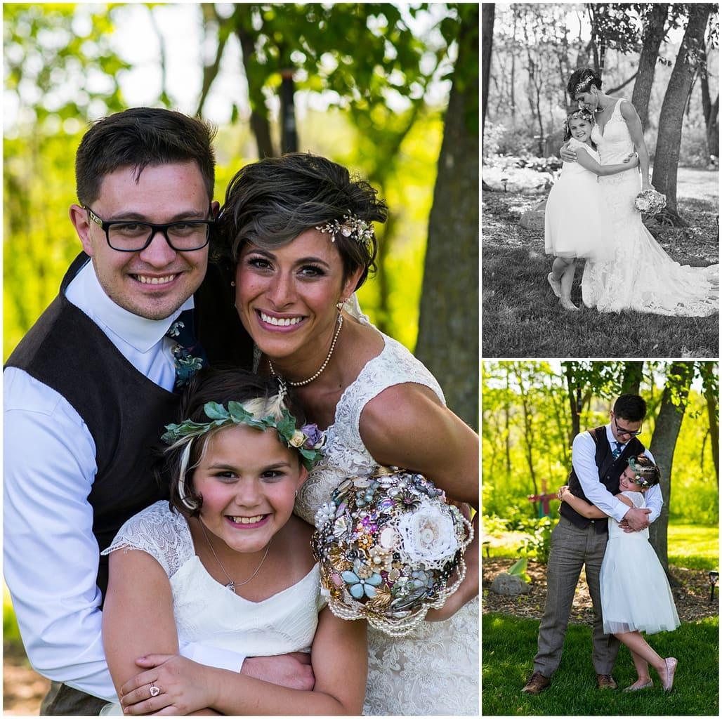Northfield backyard wedding bride and groom with daughter