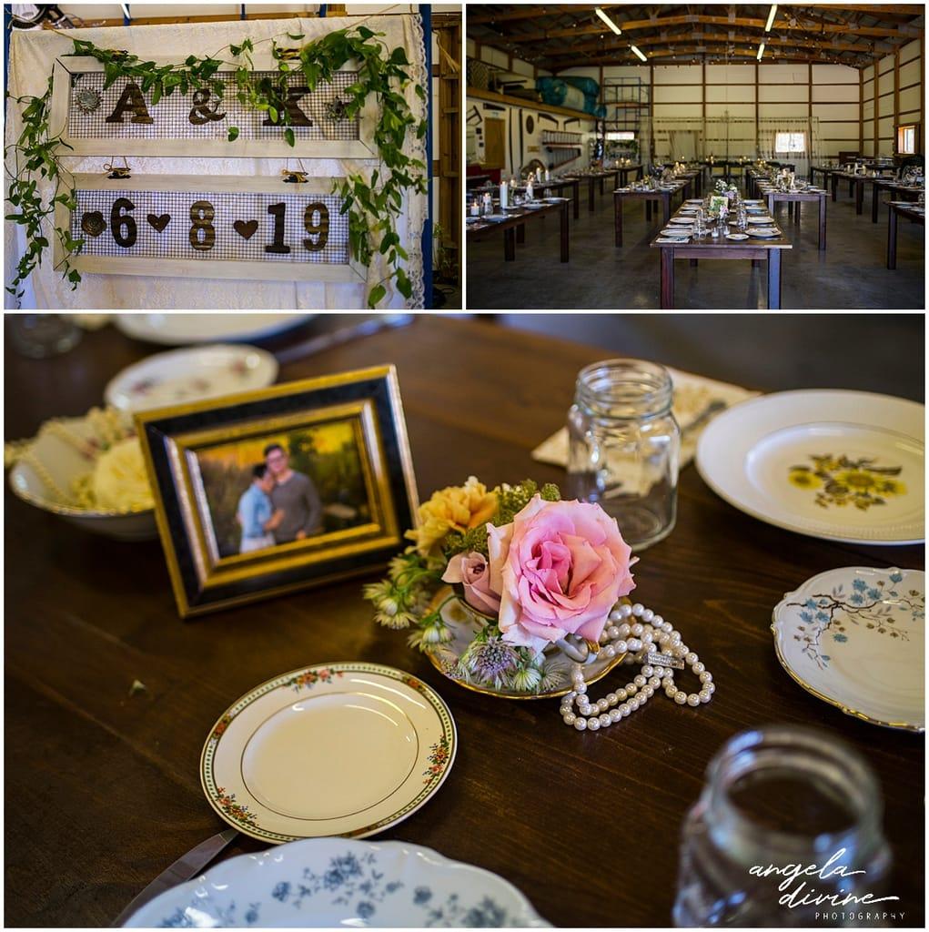 Northfield backyard wedding reception tables