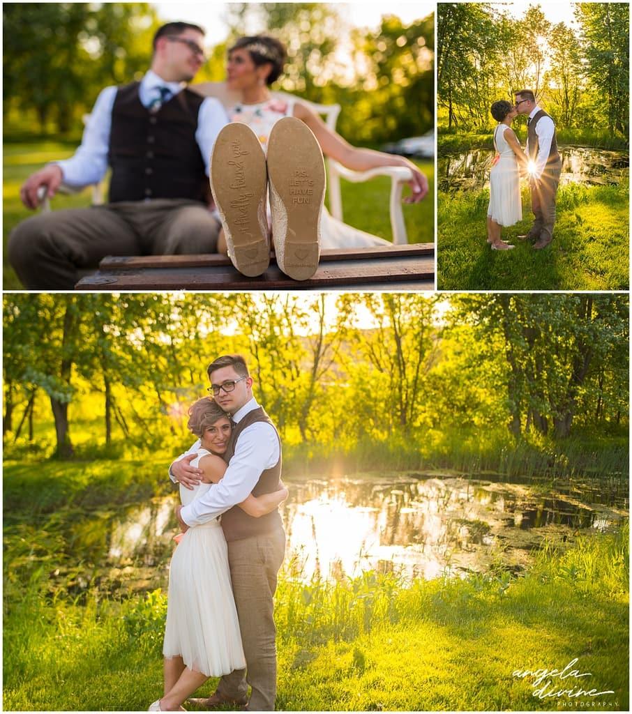 Northfield backyard wedding bride and groom pose outdoors