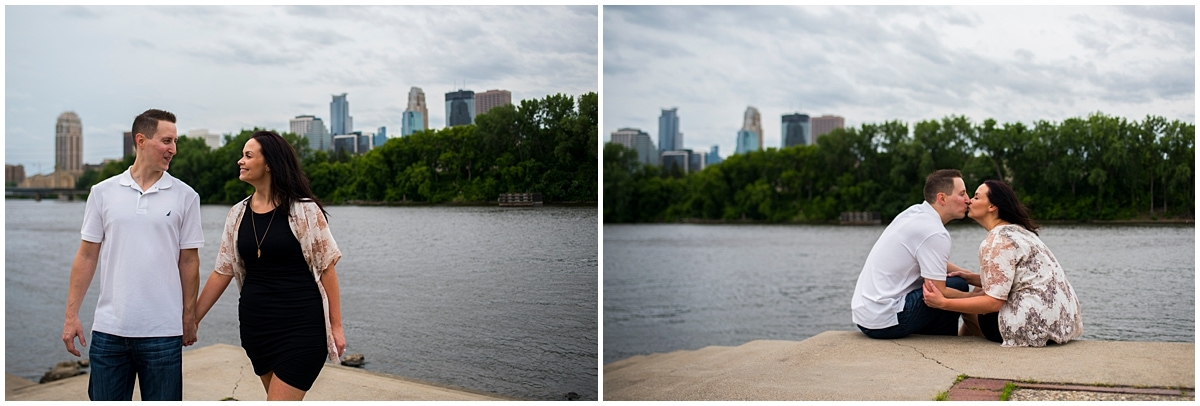 Boom Island Park Engagement river and skyline