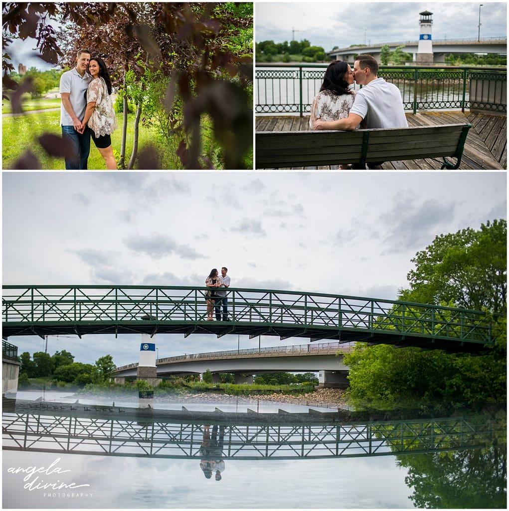 couple posing on bench and bridge