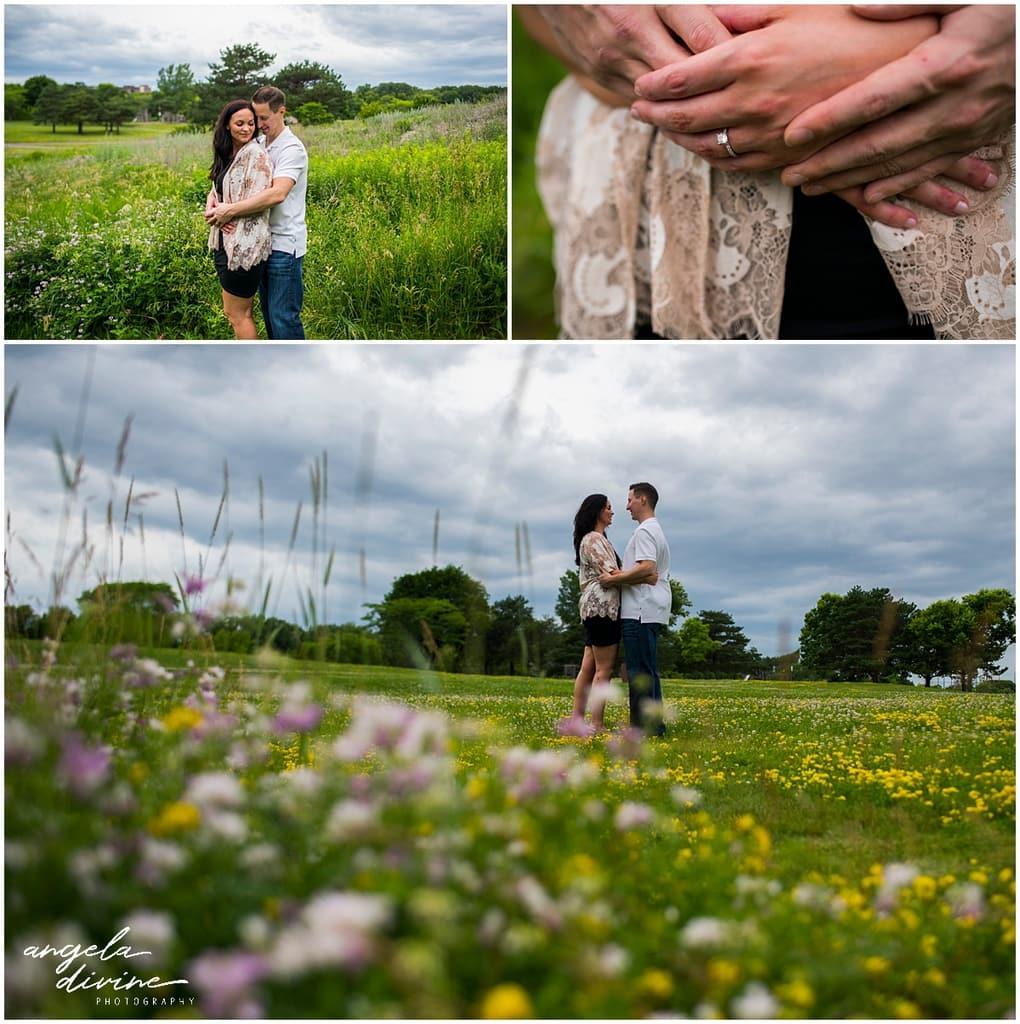Boom Island Park Engagement posing in wildflower fields