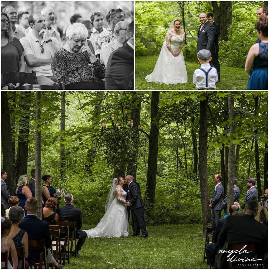 Creekside Farm Wedding first kiss