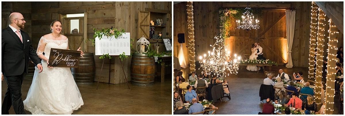 Creekside Farm Wedding entrance and kiss