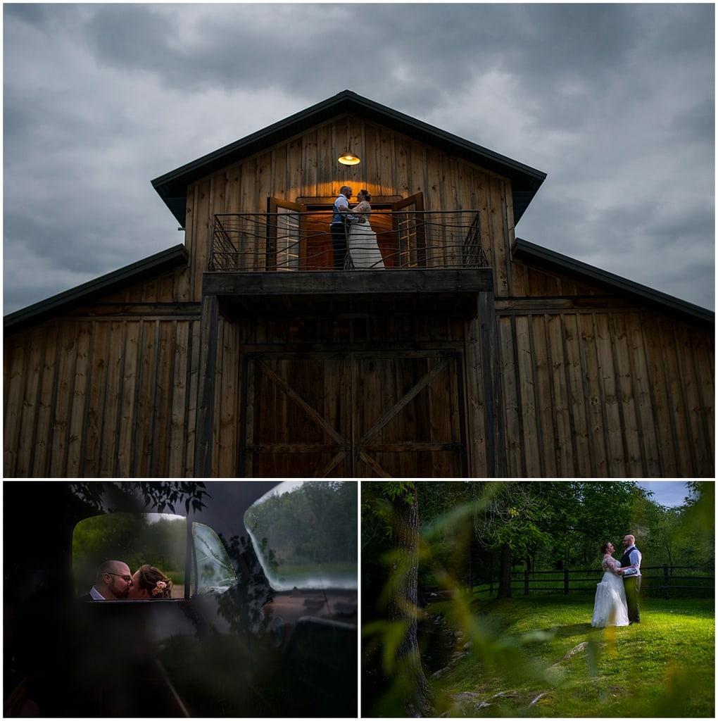 Creekside Farm Wedding bride and groom outside