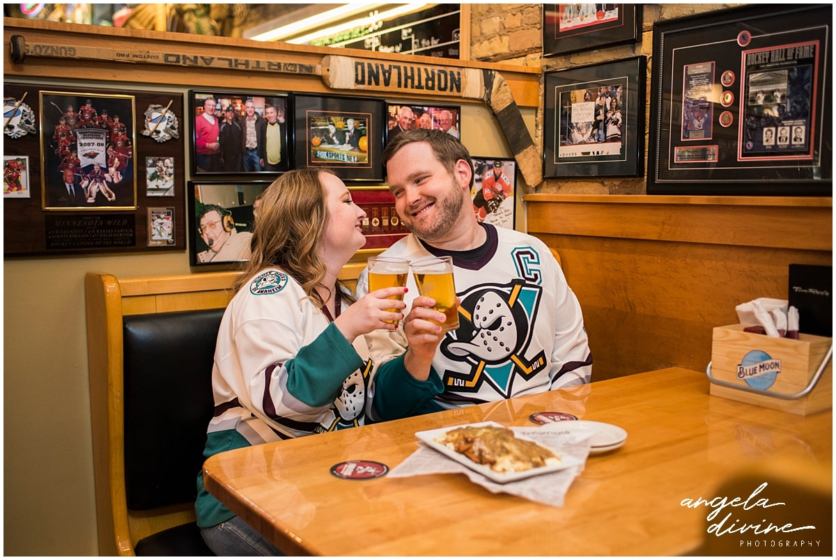 engagement session ideas for Minnesota Wild Fans cheers to the couple