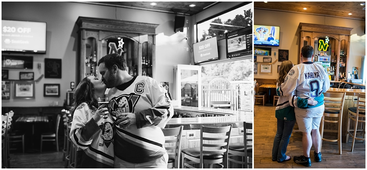 engagement session ideas for Minnesota Wild Fans stealing a kiss