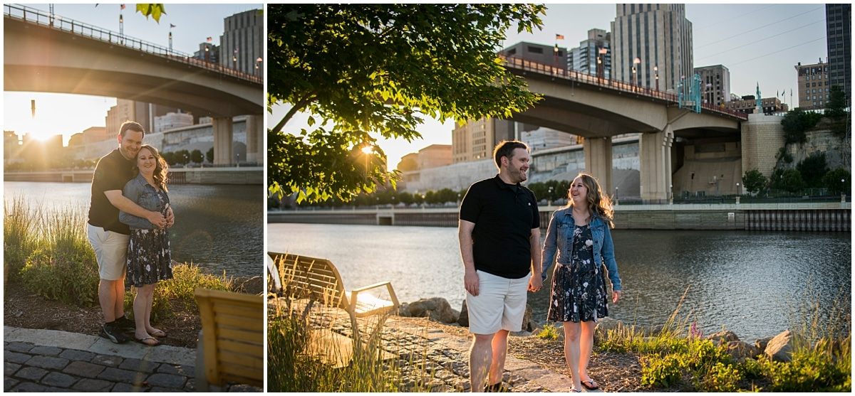 engagement session ideas for Minnesota Wild Fans by the river