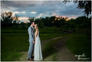 Gardens of Castle Rock Wedding sunset portrait