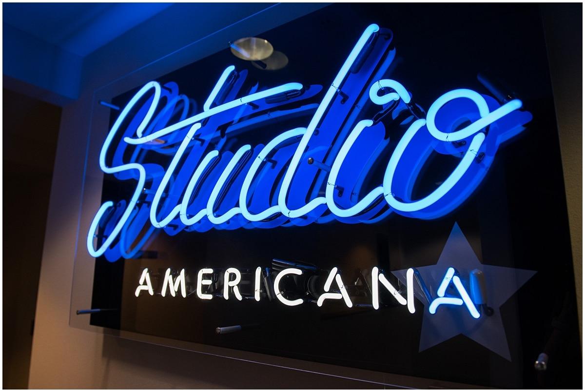 Minneapolis podcast photography Studio Americana sign