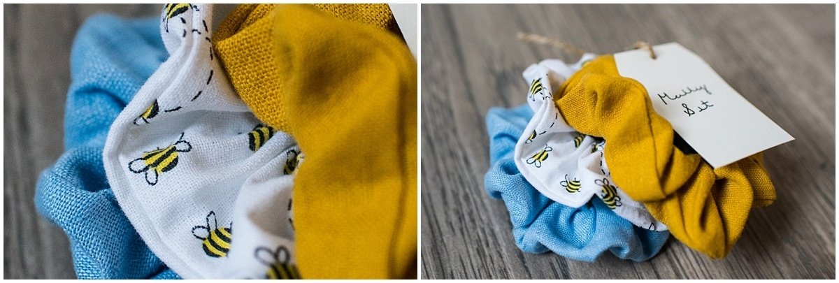 Minnesota product photography Molly scrunchie set in solid yellow and blue and bee pattern