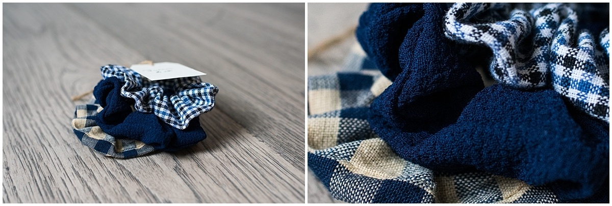 Minnesota product photography Julia scrunchie set in navy blue gingham plaid and solid