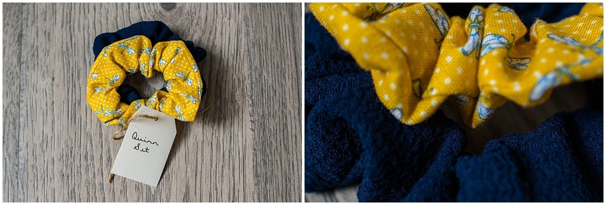 Minnesota product photography Quinn scrunchie set in solid navy and yellow dragonfly pattern