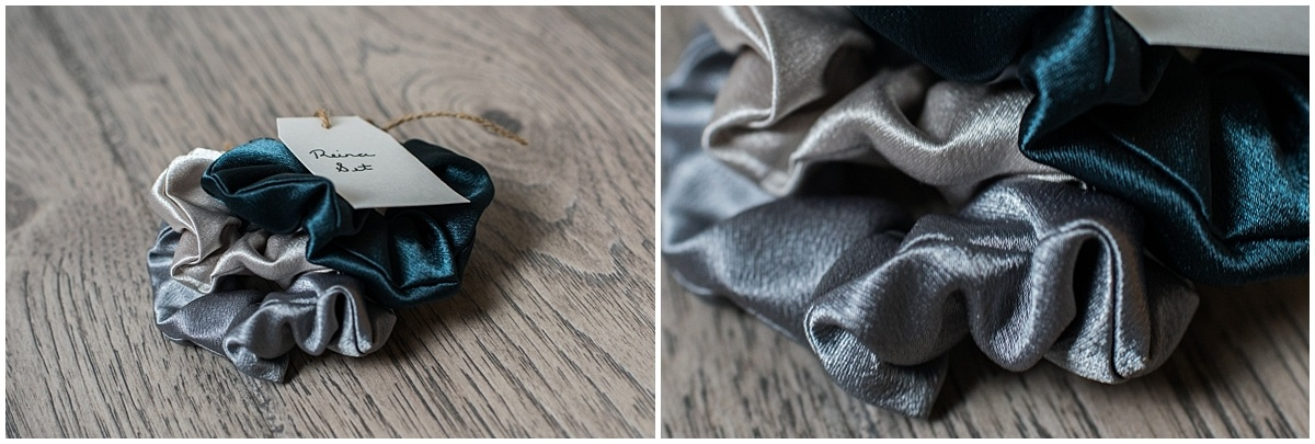 Reina scrunchie set of three metallic handmade scrunchies