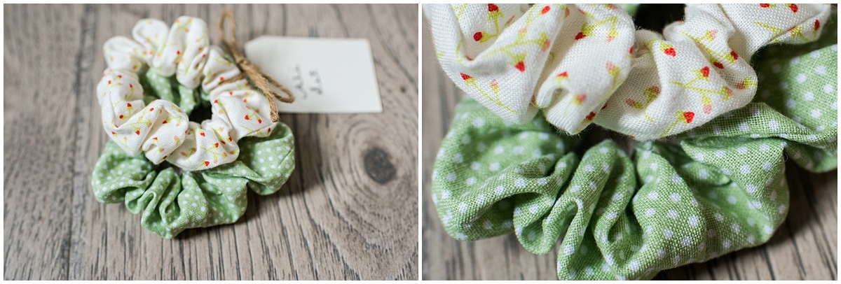 Minnesota product photography Ali scrunchie set in green polka dot and white cherry pattern