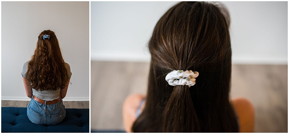 Minnesota product photography scrunchies in half up hairstyles