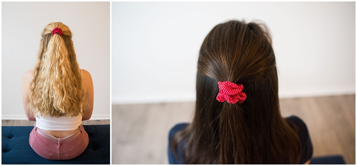 scrunchies in half up hairstyles