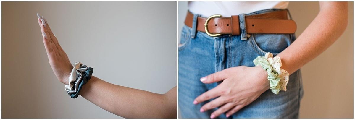 Minnesota product photography scrunchies on wrists