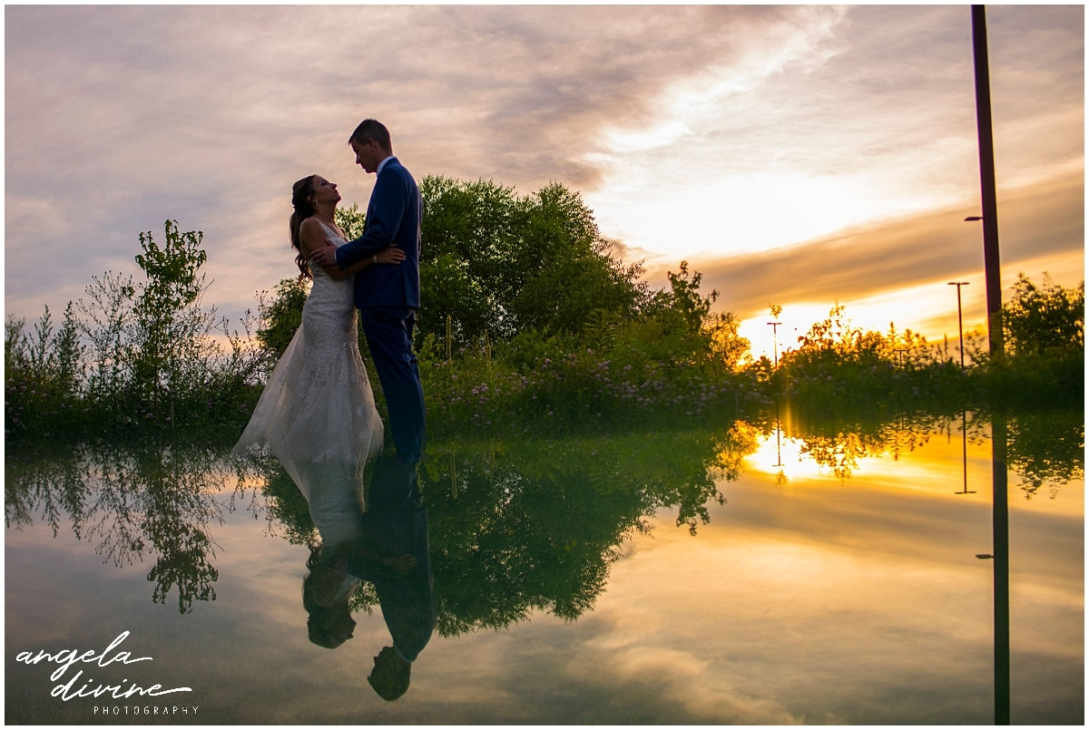 bride and groom reflection portrait