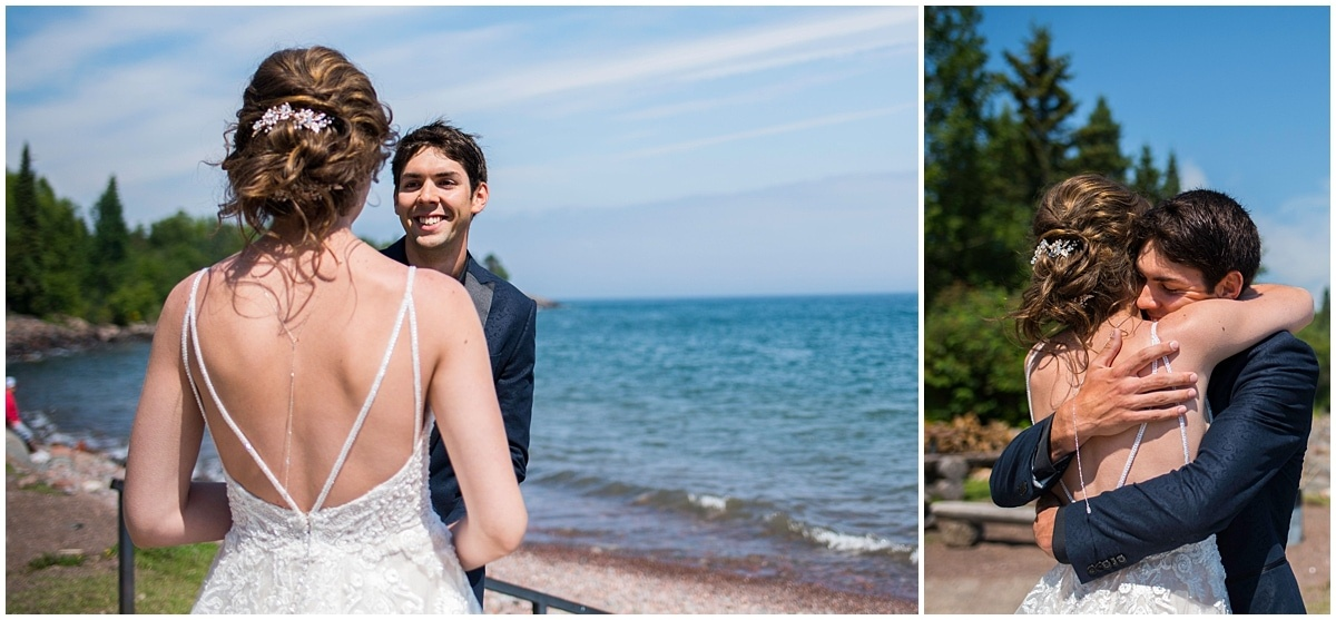 Bluefin Bay Wedding first look embrace