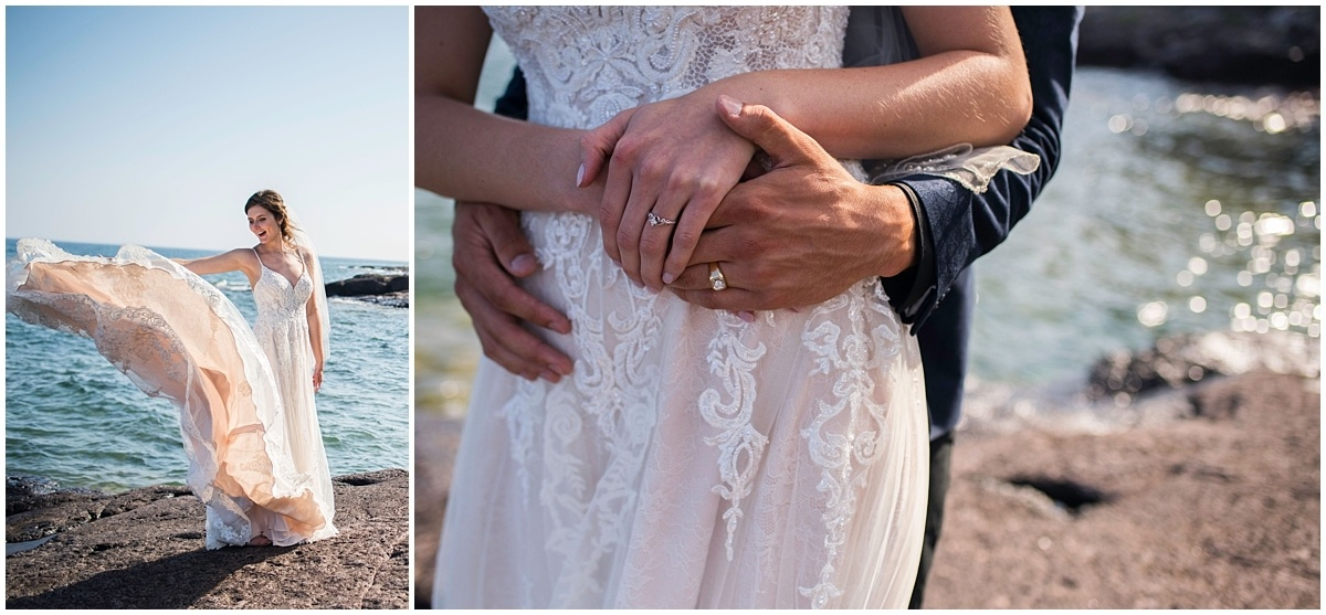 Bluefin Bay Wedding dress and wedding rings