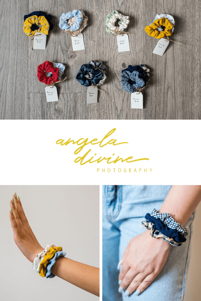 Nia turned her hobby of making scrunchies into a business to help her pay for college. Now Nia Gayle Scrunchies gives 15% of its profits to women victims of sexual violence in the Twin Cities. Check out her brand photography session on my blog and then visit her shop! | Angela Divine Photography | Minneapolis wedding + brand photographer | #branding #twincities #brandphotography #smallbusiness | https://angeladivinephotography.com/minneapolis-product-photography/