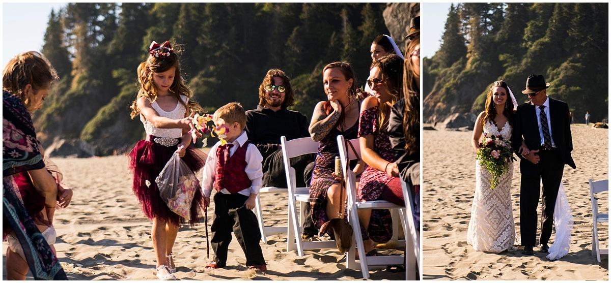 Merryman's Beach House Wedding bride and flower girl