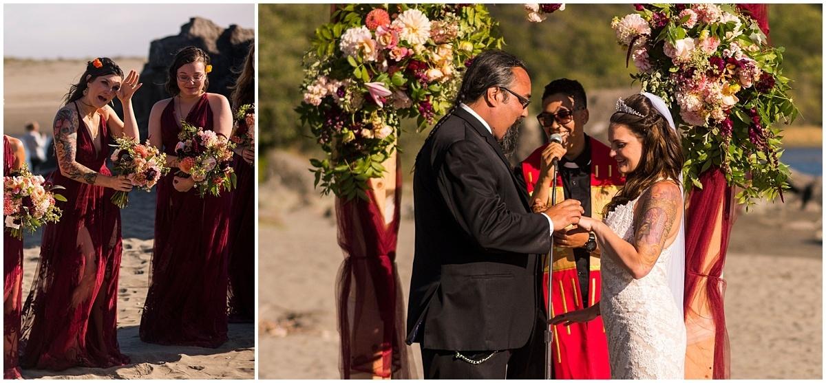 Merryman's Beach House Wedding exchanging vows