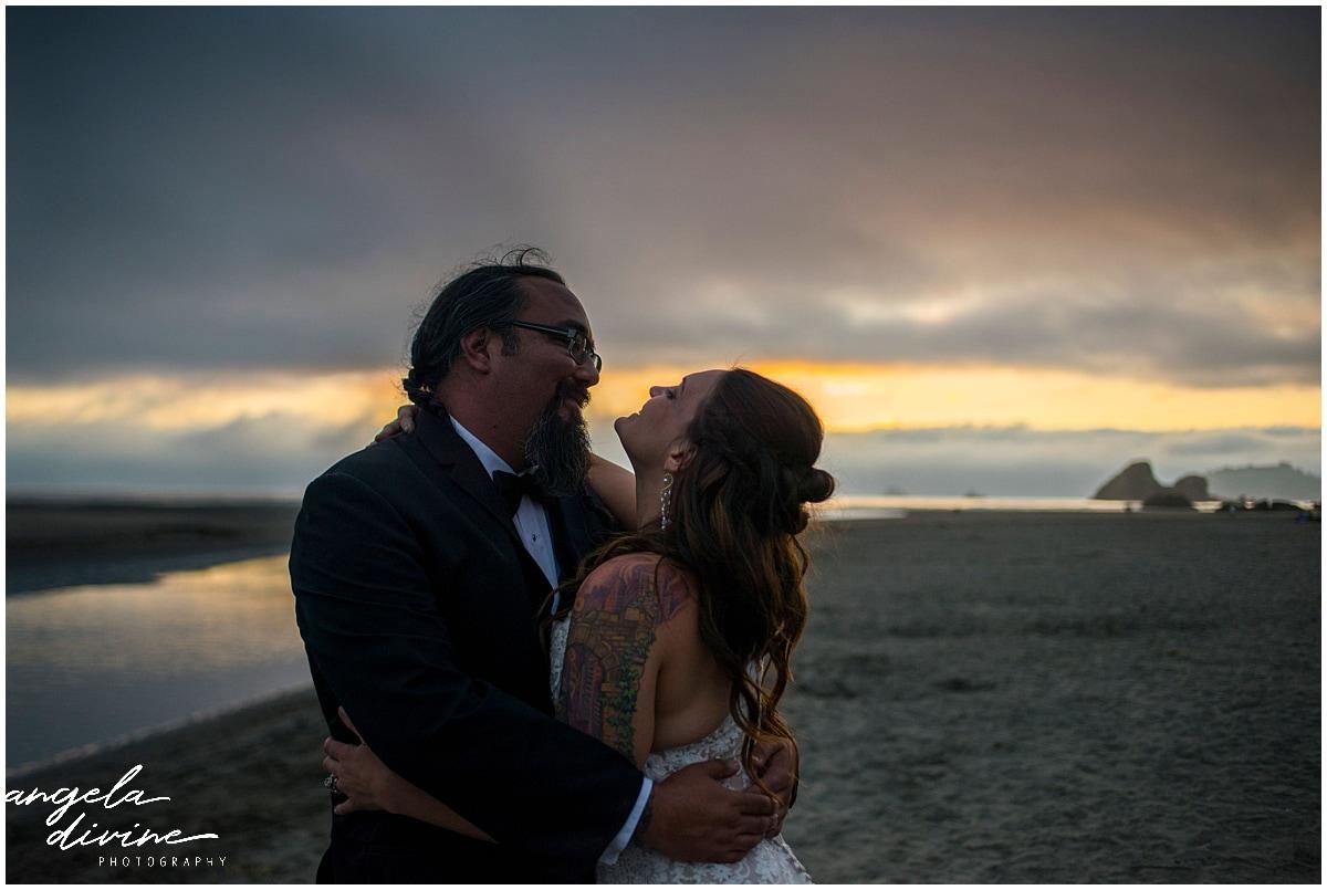 beach wedding embrace