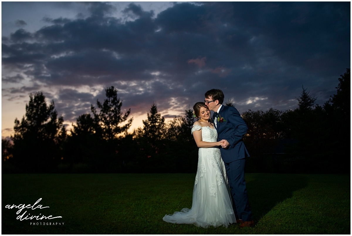 Camrose Hill Wedding bride and groom at sunset