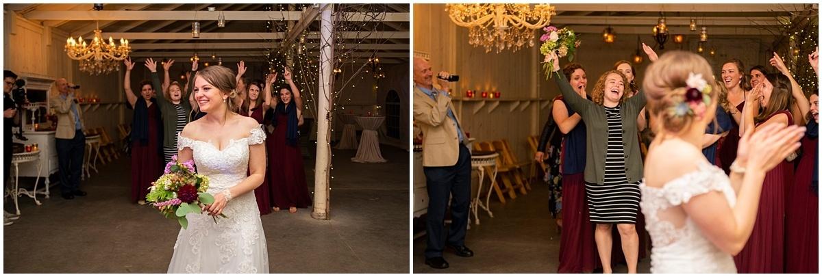 Camrose Hill Wedding bouquet toss