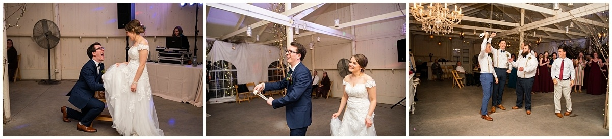 Camrose Hill Wedding garter toss