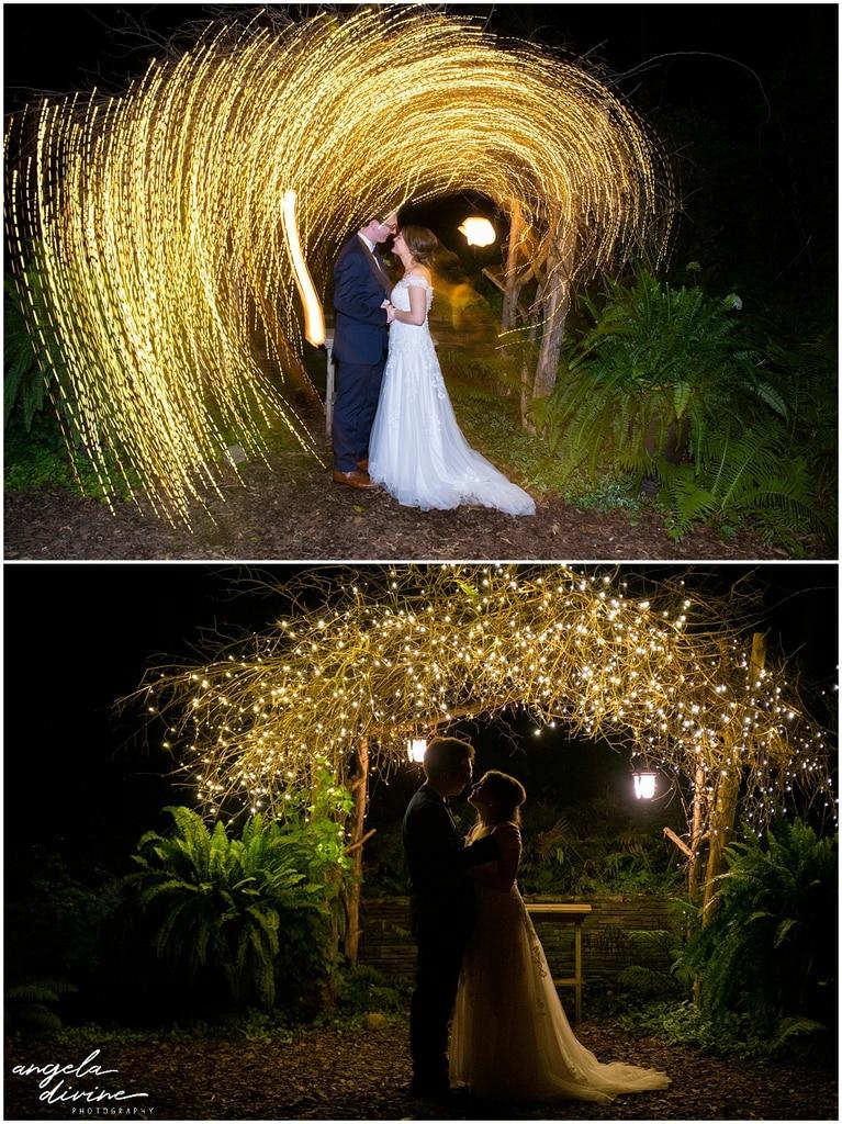 bride and groom under sparkling lights