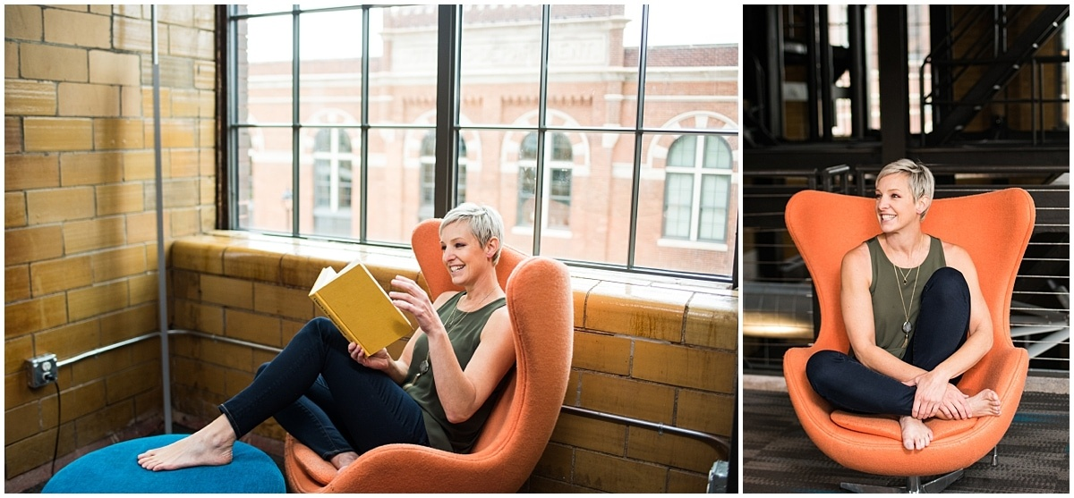 Minneapolis brand photographer for financial coach reading in chair