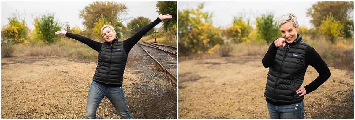 Minneapolis brand photographer for financial coach railroad tracks