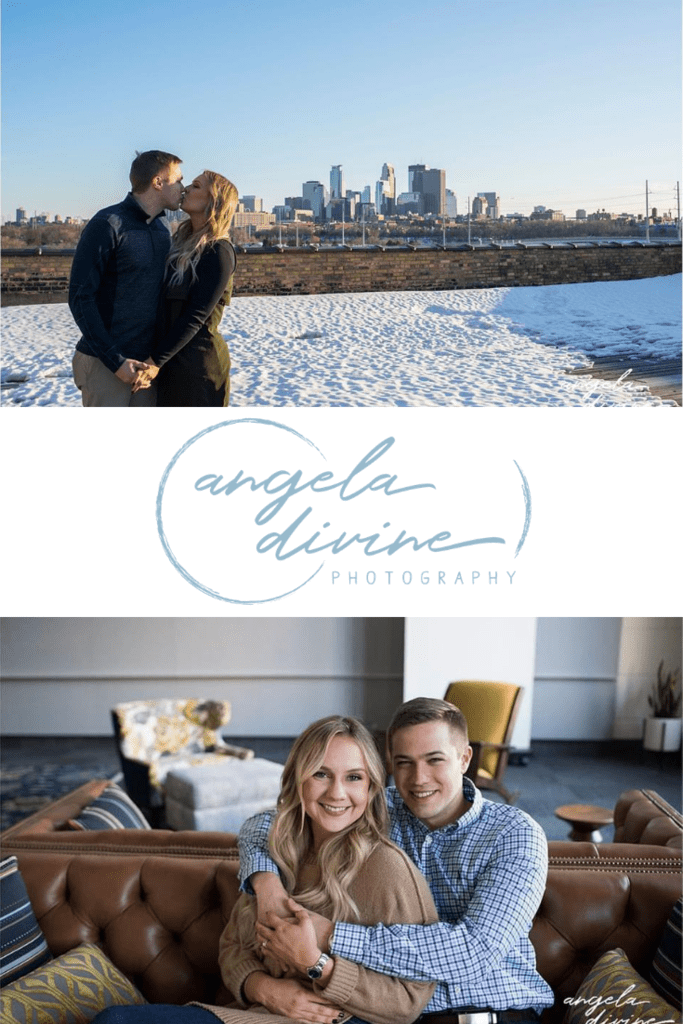 These photos are from a winter engagement session at the RSP building in NE Minneapolis. Anna and Tony both love architecture and chose this spot for their unique photo session. Visit my blog to see more of their photos! | Angela Divine Photography | Minneapolis wedding + brand photographer | #engagementshoot #engagementsession #engagementphotos | https://angeladivinephotography.com/ne-minneapolis-engagement-session-anna-tony