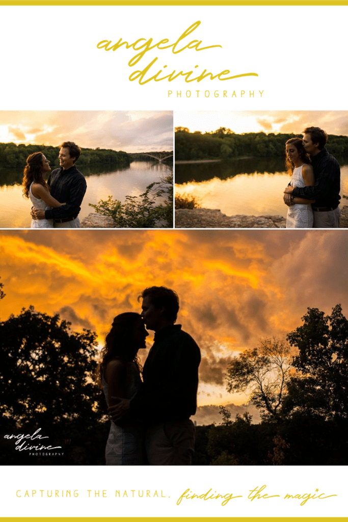 These photos are from a summer engagement session on the University of St. Thomas campus and the Mississippi River. Visit my blog for more photos from this lovely photo session. | Angela Divine Photography | Minneapolis wedding + brand photographer | #engagementshoot #engagementsession #summerengagementphotos | https://angeladivinephotography.com/st-thomas-engagement-session-kiersten-jack