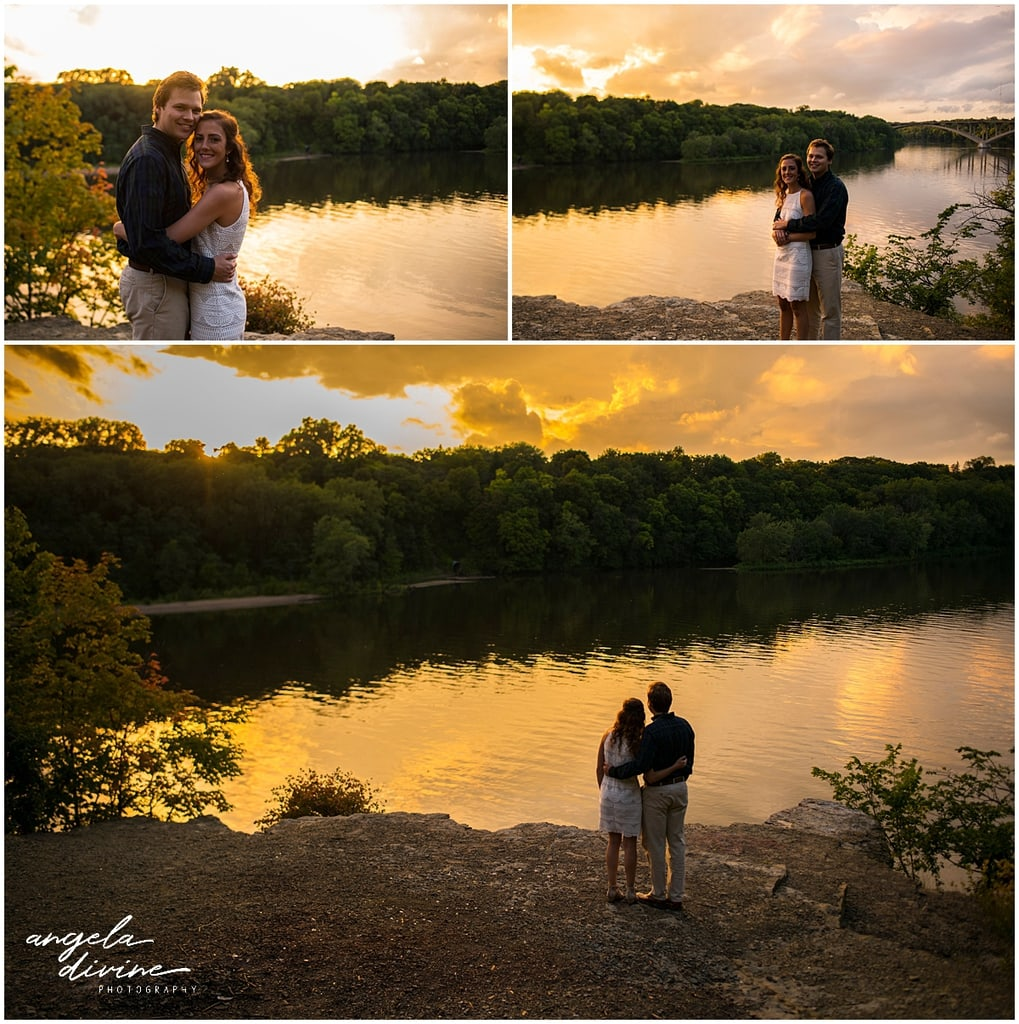 St. Thomas Engagement Session posing by Mississippi River