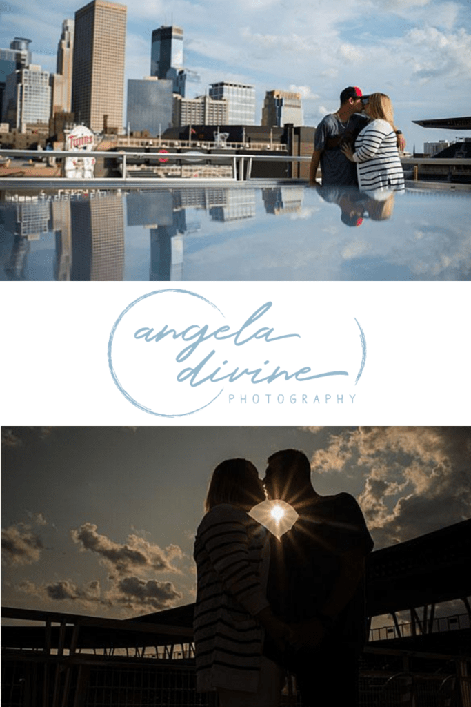 These photos are from an engagement session at Target Field and Boom Island Park. Visit my blog for more photos from this lovely photo session. | Angela Divine Photography | Minneapolis wedding + brand photographer | #engagementshoot #engagementsession #engagementphotos | https://angeladivinephotography.com/target-field-engagement-session-stephanie-tony