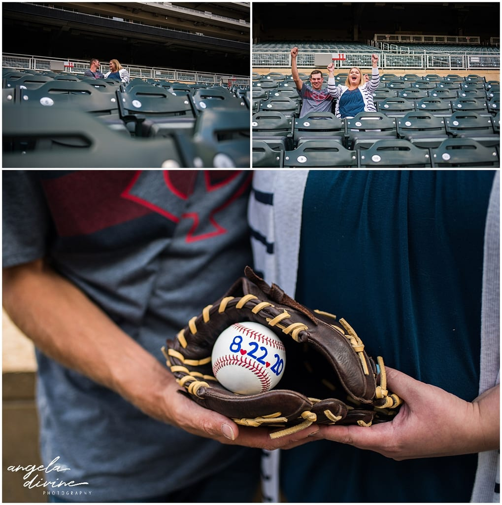Target Field Engagement seats and wedding date on baseball