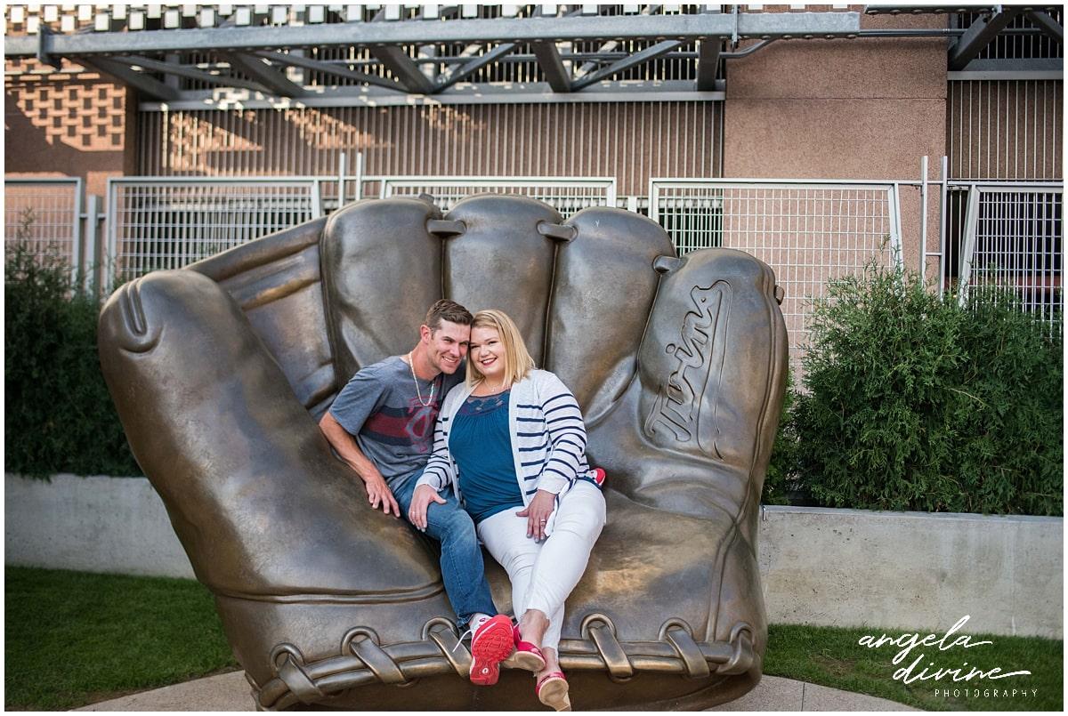 Target Field Engagement baseball glove statue