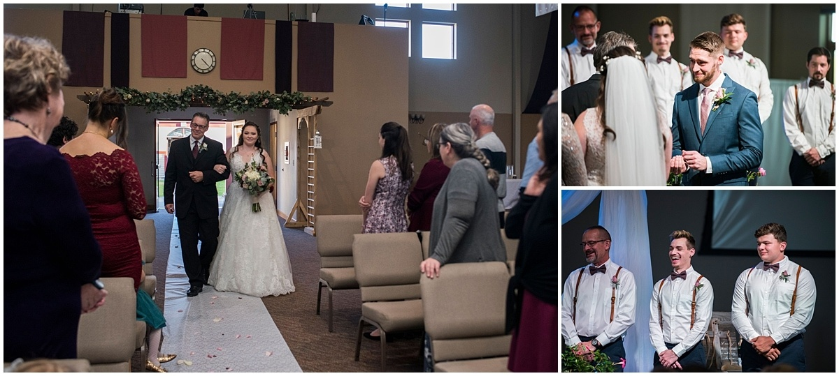 Rogers Minnesota Wedding Photography bride walking down aisle
