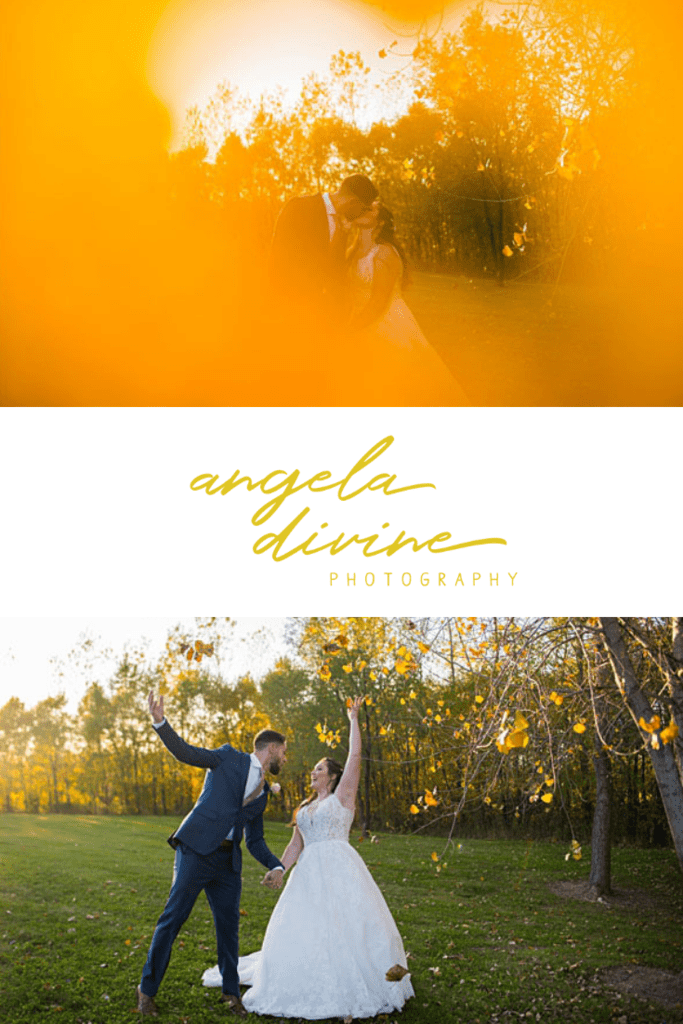 These photos are from a traditional fall wedding in Rogers, Minnesota followed by a relaxed reception with a taco bar and dancing. Check out my favorite photos from this wedding on my blog. | Angela Divine Photography | Minneapolis wedding + brand photographer | #wedding #fallwedding #weddingphotographer | https://angeladivinephotography.com/rogers-minnesota-wedding-photography-alyssa-ben