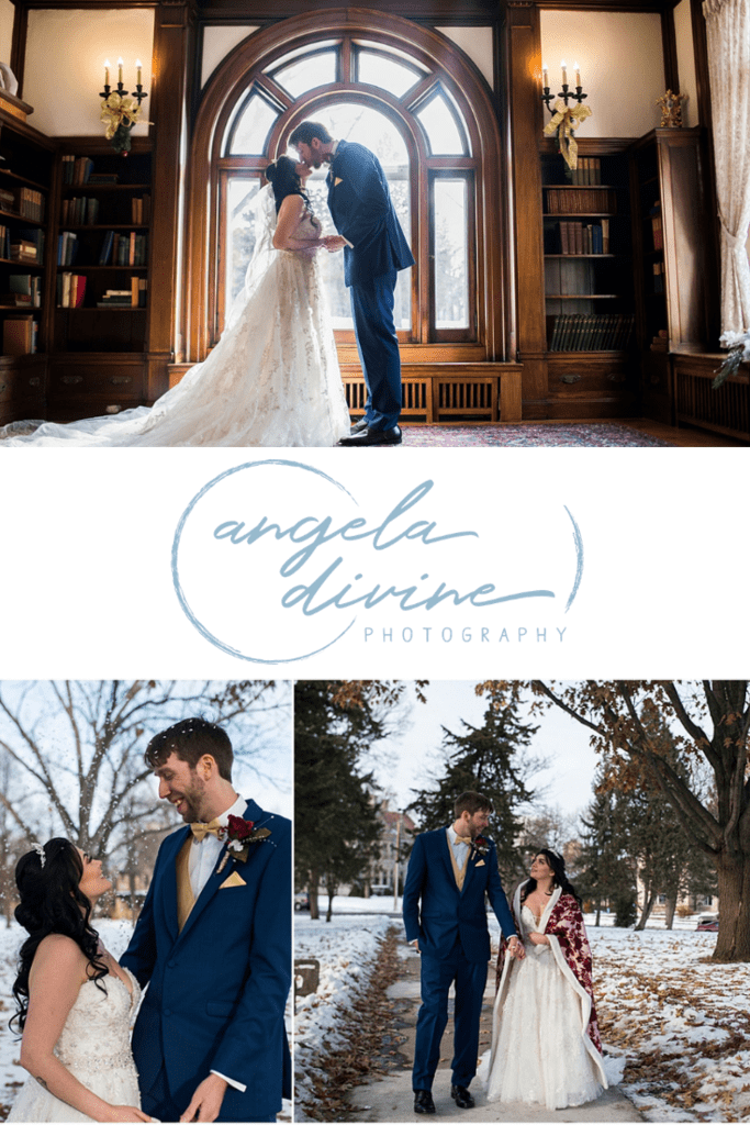 These photos are from a Beauty and the Beast themed winter wedding at the Gale Mansion in Minneapolis, Minnesota. Check out my favorite photos from this fabulous Christmas wedding on my blog. | Angela Divine Photography | Minneapolis wedding + brand photographer | #wedding #winterwedding #weddingphotographer #Christmaswedding | https://angeladivinephotography.com/gale-mansion-christmas-wedding/