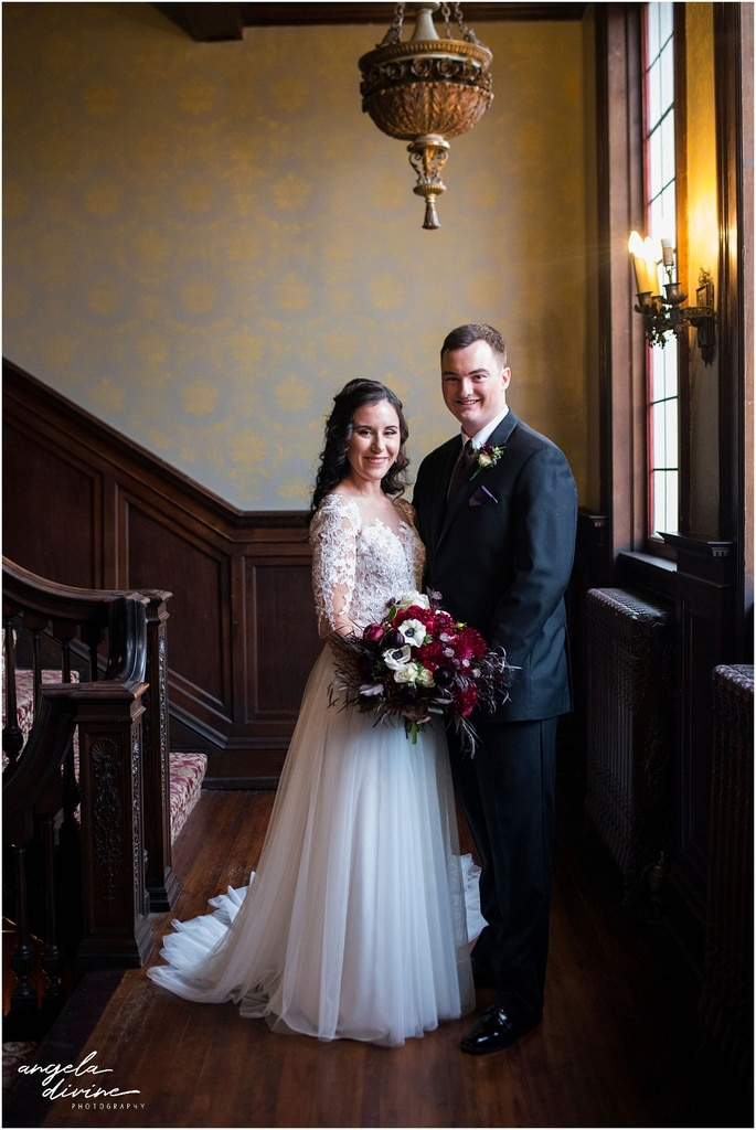 Semple Mansion Wedding Photography bride and groom on staircase