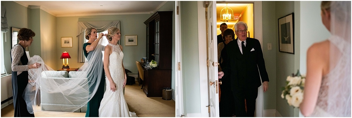 father sees bride in dress and veil