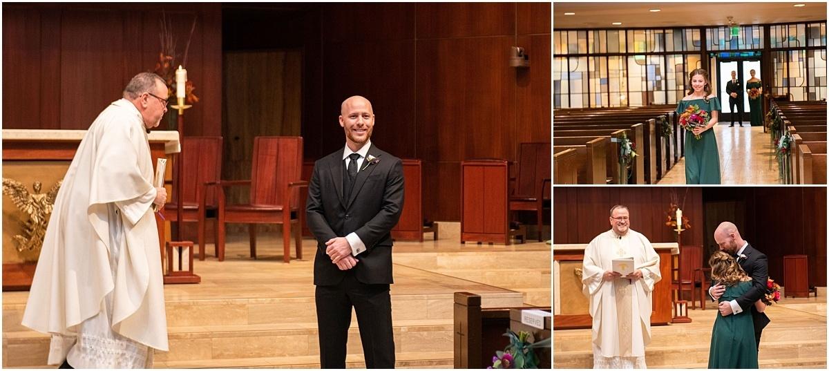 Woman's Club Minneapolis Wedding priest, groom, and bridesmaid