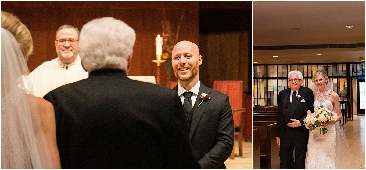 Woman's Club Minneapolis Wedding father gives bride away